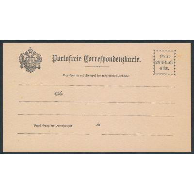 portofreie Korrespondenzkarten 1885