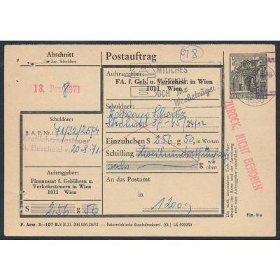 Finanzamt-Postauftragskarte 1967