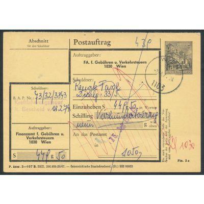 Finanzamt-Postauftragskarte 1973
