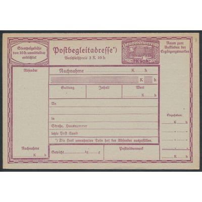 Nachnahme Paketkarte 1919