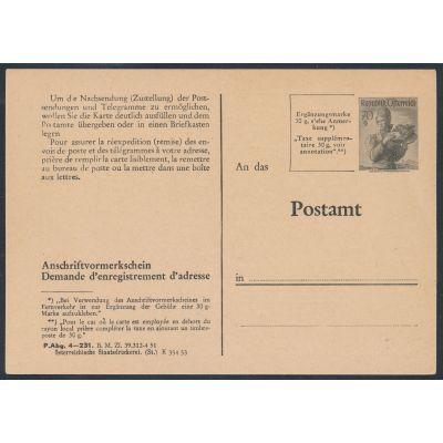 Anschriftenvormerkschein 1953