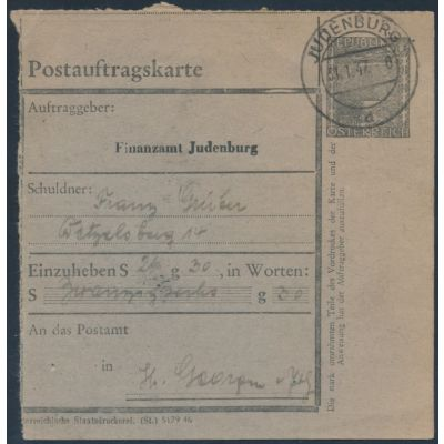 FA-Postauftragskarte 1946