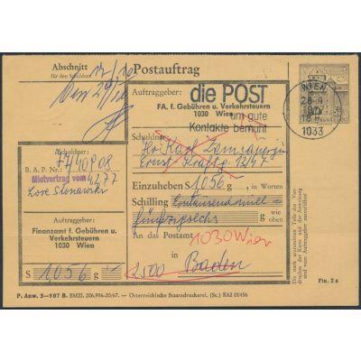 FA-Postauftragskarte 1977