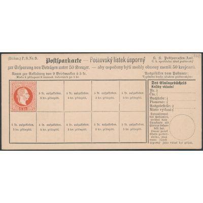 Postsparkarte 1883 böhmisch
