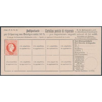 Postsparkarte 1883 italienisch