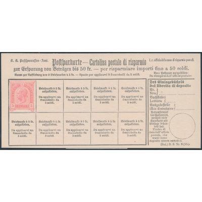 Postsparkarte 1890 italienisch