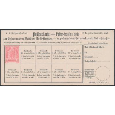 Postsparkarte 1890 slovenisch