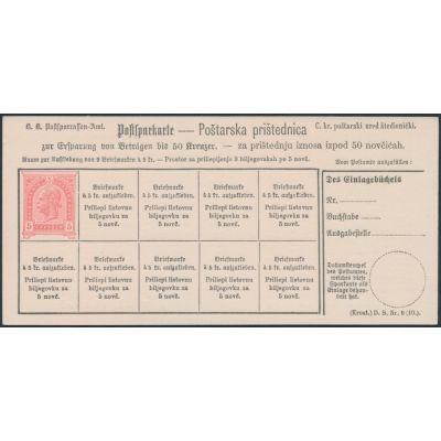 Postsparkarte 1890 kroatisch