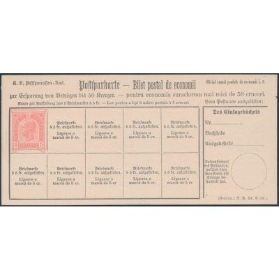 Postsparkarte 1890 rumänisch