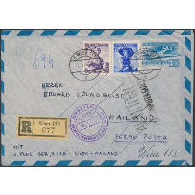 Luftpost-Umschlag mit Erstflug