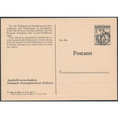 Anschriftenvormerkschein 1949