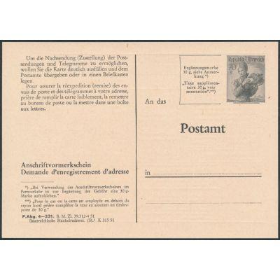 Anschriftenvormerkschein 1951