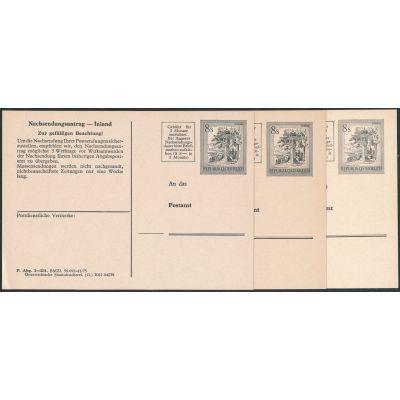 3 Nachsendungskarten 1977/79