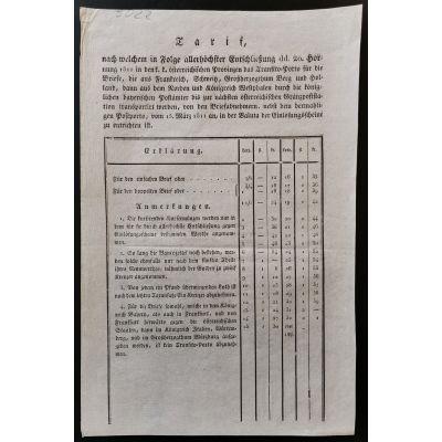 Briefposttarif Ausland 1811